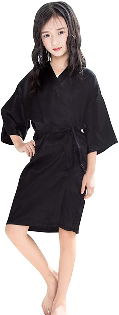 Toddler Baby Bathrobe Girls Kids Satin Kimono Robe Nightgowns for Spa Party Wedding Birthday Silky Sleepwear