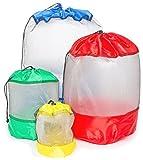 Hopeville Netzbeutel-Set 4-teilig, Praktische Packbeutel in Vier verschiedenen Größen für Sport, Freizeit, Haushalt, Outdoor und Urlaub