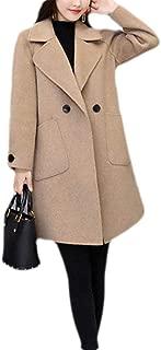 Macondoo Women's Woolen Double Breasted Winter Outwear Warm Trench Pea Coat