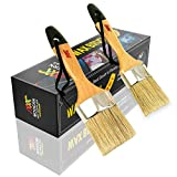Chalked Paint Brush for Furniture Painting Small 2' & Large 2.5' Brushes Set - Compatible with Annie Sloan Chalk Paints, Heirloom Traditions Waverly, Pixie, Dark & Soft Wax Stencil, Cabinets & Wooden