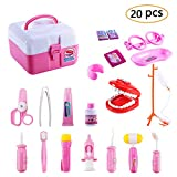 Twister.CK Children Pretend Doctor Kit Set, 20 PCS Medical Case Kit Doctor Nurse Dress Up Role Play Toys for Girls, Pink