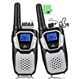 Topsung Walkie Talkies Rechargeable, Long Range Two-Way Radios Up to 5 Miles in Open Fields 22 Channels VOX NOAA UHF Handheld Walky Talky for Adults for Camping Hiking Trip (Sliver 2 Pack)