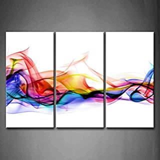 3 Panel Wall Art Fresh Look Color Abstract Smoke Colorful White Background Painting Pictures Print On Canvas Abstract The Picture for Home Modern Decoration (Stretched by Wooden Frame,Ready to Hang)