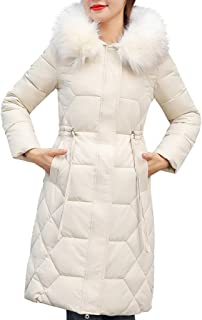 iHHAPY Cotton Jacket Winter Coat Cotton Padded Warm Jacket Transition Quilted Coat Fashion Winter Jacket Faux Fur Hood
