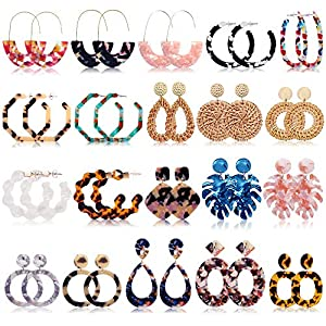 FIFATA 20 Pairs Rattan Drop Dangle Earrings Bohemian Statement Earrings for Women Girls Mottled Acrylic Resin Hoop…