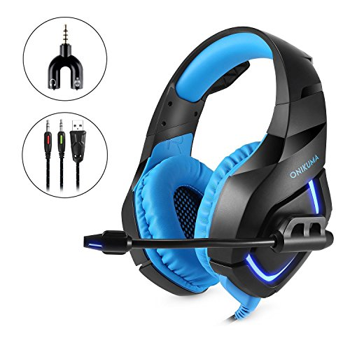 Computer Gaming Headset, 3.5mm Surround Stereo Wired Gaming Headphones with Microphone and Volume Control for PC/Ps4/Xbox one/Phone/Laptop,Blue