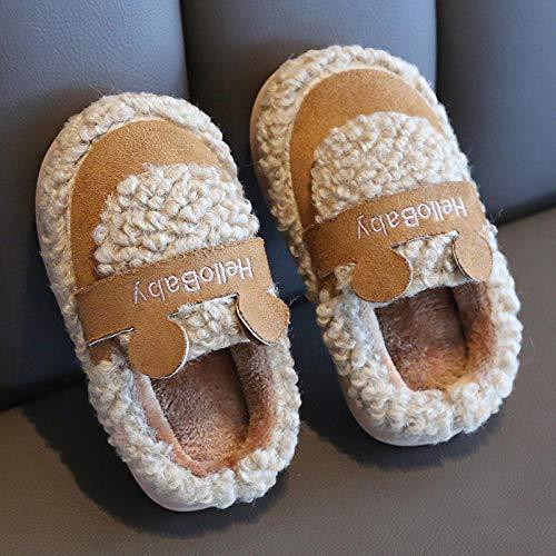 Nwarmsouth Zapatos de casa con Interior,Zapatos de algodón para niños Lindos, Zapatillas de bebé de Dibujos Animados-Coffee_19CM,Casa Cálido Felpa Suave Invierno Pantuflas