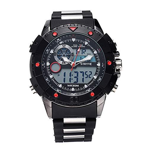CETLFM nieuwe herenhorloge, waterdicht militair sporthorloge, elektronisch horloge met dubbel uurwerk en LED-achtergrondverlichting, wijzers + digitaal + wekker herenhorloge