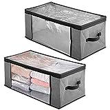 mDesign Juego de 2 cajas organizadoras de tela – Prácticas cajas para guardar ropa y ropa de cama...