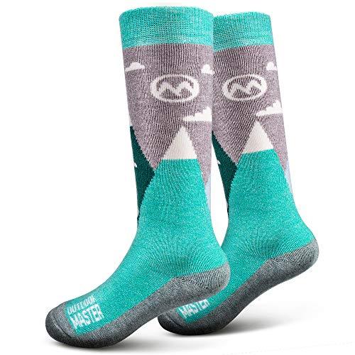 OutdoorMaster Kids Ski Socks - Merino Wool Blend, OTC Design (XS, Green)