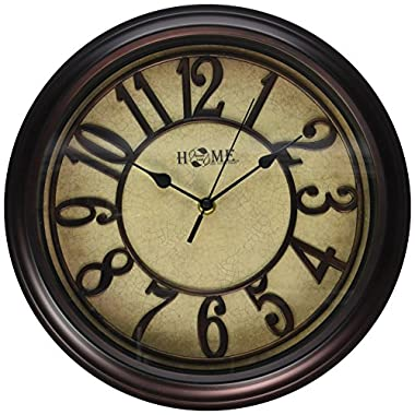 Uniware Antique Vintage Wall Clock,12.6 x 2 Inch (Dark Brown), Medium