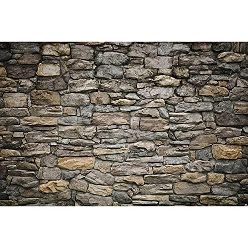 GREAT ART Mural de Pared – Muro De Piedra Gris – Piedra Óptica de tapices patrón de piedras 1000piedras Tapiz en óptica de piedra Foto Papel Pintado Y Decoración (210 x 140 cm)