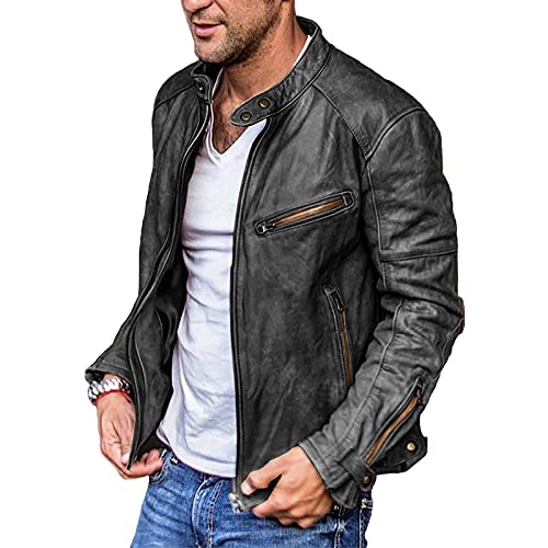 Faux Leather Jackets for Mens,Casual Stand Collar P-U Faux Leather Zip-Up Motorcycle Bomber Jacket