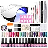 Saint-Acior 36W UV Lámpara LED Secador de Uñas 20PCS Esmalte Semipermanente Top Coat Base Coat Decoración de Uña Arte Kit para Manicura Pedicura