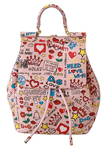 Dolce & GabbanaPink Multicolor Leather Backpack Purse Bag