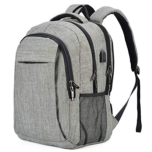 OSOCE Business Laptop Backpack, Travel Bags. Lightweight and Durable Casual Daypacks with USB Charging Ports, Waterproof Urban Commuter Rucksacks for Men and Women, Fits 15.6-inch Notebooks. Silver