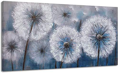 3D bianco fiore pianta tarassaco dipinti ad olio astratti, 100% dipinti a mano su tela, soggiorno camera da letto casa arredamento camera da letto per bambini (senza cornice) 70x140 cm (28x56 pollici)