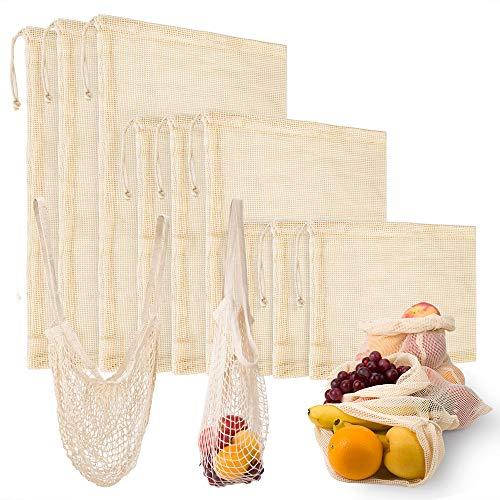 10 Piezas Bolsa Reutilizable Algodon,9 Bolsas de Comida para Fruta Reutilizables para Productos Frescos, Frutas y Verduras(3*S/3*M/3*L),1 Bolsa de Malla Reutilizable Bolsa de Compras