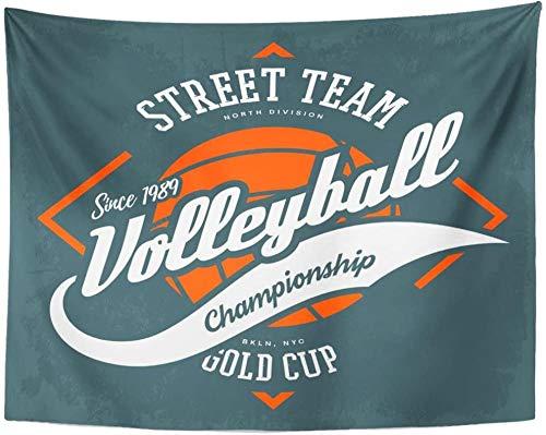 Etiqueta con pelota y flechas para voleibol Juego deportivo Ropa deportiva Athletic Street University College Equipo Tapiz Decoración para el hogar Pared 150x100cm/59x39inchch