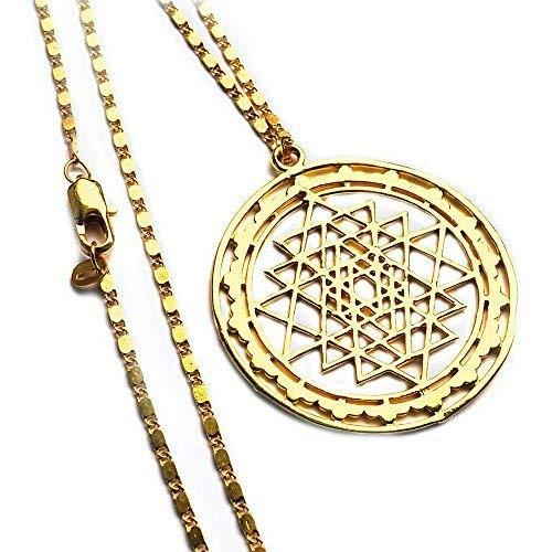 Spirit of Avalon Sri Yantra colgante oro/Amuleto con cadena–Yoga Esoterik Espiritualidad Astrología Meditación Energía