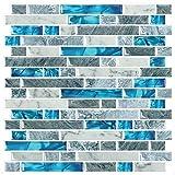 STICKGOO 10-Sheet Peel and Stick Backsplash Tiles Blue, Self Adhesive Kitchen Backsplash in Sapphire...