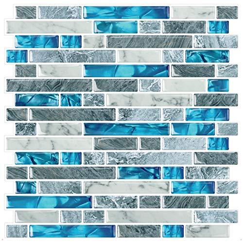 STICKGOO 10-Sheet Peel and Stick Backsplash Tiles Blue, Self Adhesive Kitchen Backsplash in Sapphire (Thicker Design)