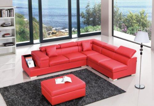 Check Price Divani Casa T306 - Modern Leather Sectional Sofa - Basit ...