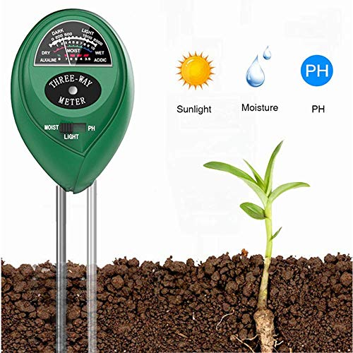 Soil PH Meter Soil Moisture Sensor 3-in-1 Soil Moisture/Light/pH Test Kit for Indoor/Outdoor Plants Care(No Battery Needed)