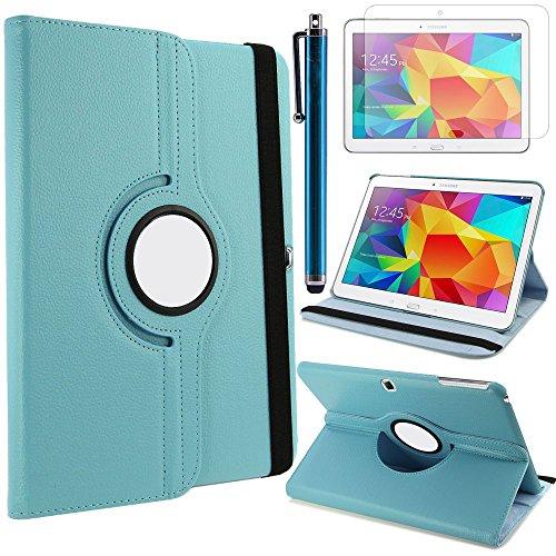 TIODIO 4 en 1 Case Cover Custodia per Samsung Galaxy Tab 4 10.1 T530 / T531 / T535 Cover in Ecopelle con Meccanismo di Rotazione di 360° per Posizionamento Verticale ed Orizzontale del Tablet,Pellicola di Protezione e dello stilo Incluse, Azzurro