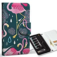 スマコレ ploom TECH プルームテック 専用 レザーケース 手帳型 タバコ ケース カバー 合皮 ケース カバー 収納 プルームケース デザイン 革 フラミンゴ ピンク 緑 010640