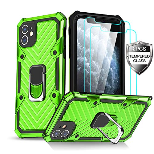 iPhone 11 Case with [2 x Tempered Glass Screen Protector] [15Ft. Drop Tested ] [ Military Grade ] Protective Phone Case with Magnetic Car Mount Ring Kickstand for iPhone 11(Green)