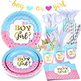 Gender Reveal Plates and Napkins and Cups, 159 PCS Boy or Girl Gender Reveal Party Supplies with Banner, Tablecloth, Cake Topper, Cutlery, Straws for Gender Reveal Decorations - Serves 16
