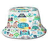 Sombrero de Pesca,Iconos de infografías Planas de energía Verde ecológica,Senderismo para Hombres y Mujeres al Aire Libre Sombrero de Cubo Sombrero para el Sol