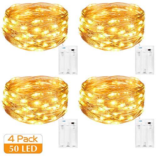 Kolpop Guirlande Lumineuse [Lot de 4], Mini Guirlande LED a Pile 5m 50 LEDs Intérieur et Extérieur Décoration Lumière pour Chambre Noël Mariage Soirée Maison Jardin (Blanc Chaud)