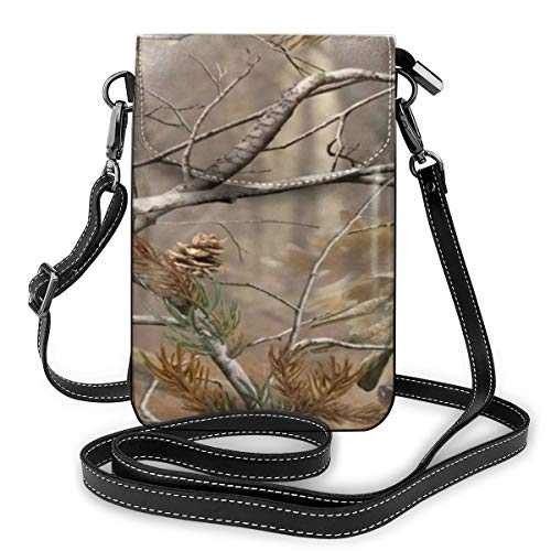 XCNGG Women Soft PU Leather Cellphone Purse Wallet Camouflage Camo Tree Handbag Small Crossbody Shoulder Bag Pouch for Travel Shopping Working