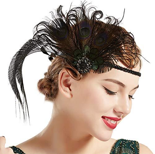 ArtiDeco Damen 1920s Stirnband Pfau Feder 20er Jahre Stil Flapper Haarband Inspiriert von Great Gatsby Damen Kostüm Accessoires (Dunkel Pfau)