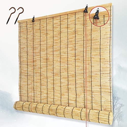 ZHUOZ1T Natürliche Schilf Vorhang,Retro-Bambus-Rollos Reed-Vorhang,Lichtfilter-Rollläden mit Volant,Sonnenschutz/Wärmeisolierung,für Innendekoration im Freien,Anpassbar(120x320cm/47x126in)