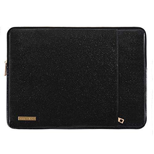 MOSISO Laptop Sleeve Hülle Kompatibel mit 13-13,3 Zoll MacBook Air/MacBook Pro Retina/2019 Suface Laptop 3/Surface Book 2, PU Leder Vertikale Stil Gepolsterte Laptoptasche, Schwarz