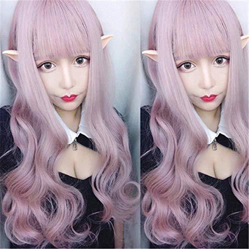 Halloween Perücke Farbe blass Puder hellrosa Urlaub Party Party langes lockiges Haar große...