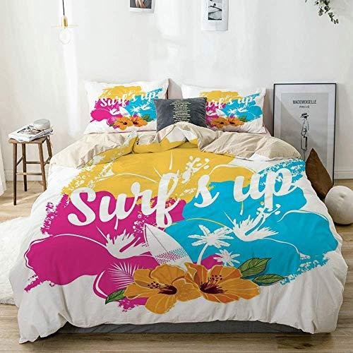Conjunto de Funda nórdica Ramo de Flores de Hibisco Tropical Hawaiano y Frase de Surf con Tabla de Paleta Juego de Cama de 3 Piezas Decorativo Beige con 2 Fundas de Almohada