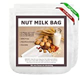 Nut Milk Bags, 12'x12', 2 Pack, Reusable Nylon Food Strainer, Multi-use Food Grade Filter for Almond Milk, Juice, Cheese, Tea, Cold Brew Coffee(1x200 Micron & 1x125 Micron)