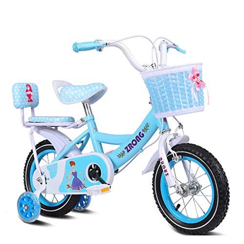 LIPENLI Las Bicicletas de los niños de 14 Pulgadas niñas de Bicicletas Bicicletas 3-5 años de Edad de Acero de la Niña de Coches de Alto Carbono, Azul/Verde/Azul de la Bicicleta Infantil (Color: A