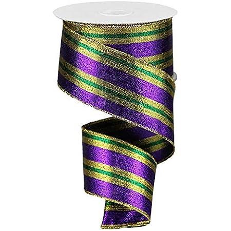 WIRED RIBBON Diamond Ribbon Floral Wreath Ribbon Purple Ribbon Mardi Gras Harlequin Diamond Purple and Gold RG1930WY