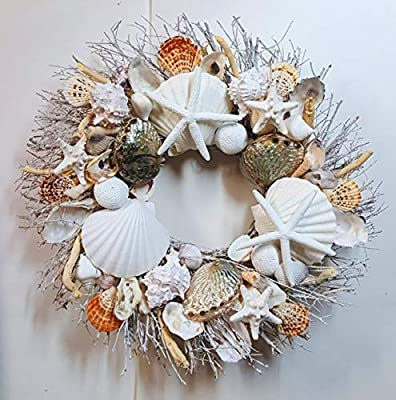 """21"""" Seashell Wreath on Birch Twig with Highly Polished Abalone Shells in 3 Designs"""