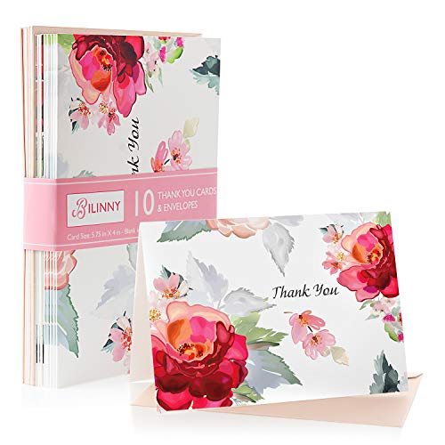 Bilinny 10 Pack of Beautiful Floral Design Thank You Cards With Envelopes, Matte Gratitude Notes For Professional Business, Graduation, Engagement, Wedding, Bridal, Baby Shower