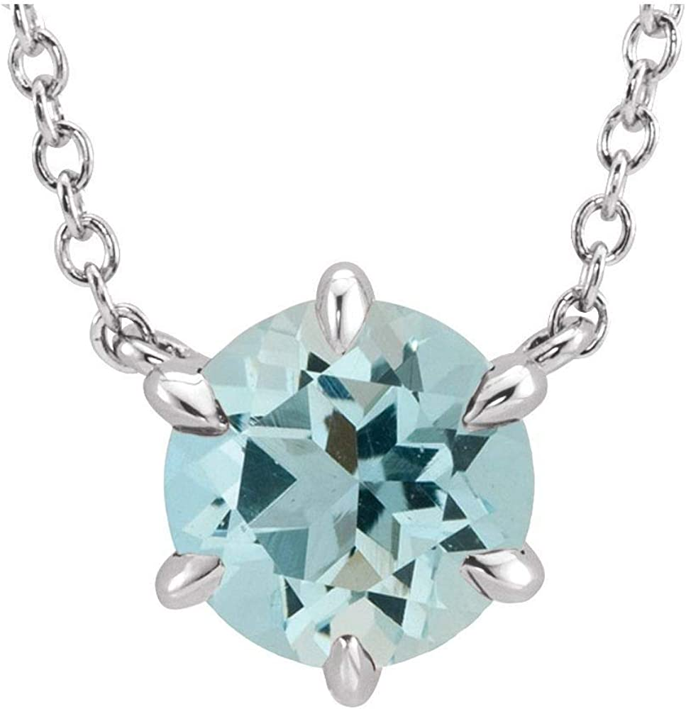 Solid Platinum Industry No. 1 Solitaire Aquamarine Charm New Orleans Mall Pendant Chai