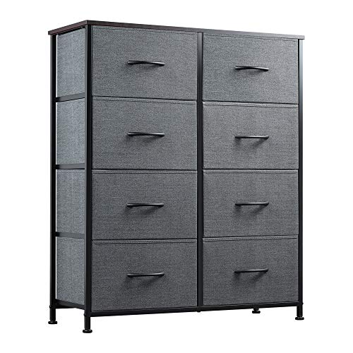 WLIVE Dresser with 8 Drawers Fabric Dresser for Bedroom Hallway Nursery Entryway Closets Sturdy Metal Frame Wood Tabletop Easy Pull Handle Charcoal Gray