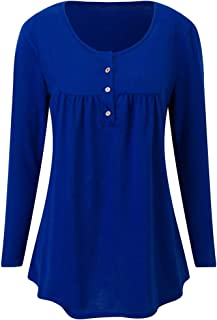 XLDD Women Blouse Casual Long Sleeves Pleated Tunic Tops Ladies Button Up Solid Color T Shirts Leisure Daily Wear Autumn S...