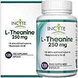 L Theanine 250mg | 120 Premium Capsules (4 Month's Supply) | High Strength L-Theanine Capsule | ltheanine Made in The UK by Incite Nutrition