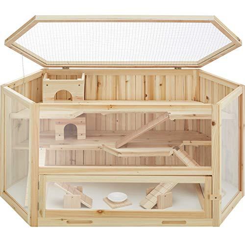 TecTake 403227 Hamsterkäfig aus Holz mit Zubehör, mehrere Etagen, aufklappbares Dachgitter, Schaufenster aus Kunststoffglas, herausnehmbare Schublade erleichtert die Reinigung, ca. 115 x 60 x 58 cm